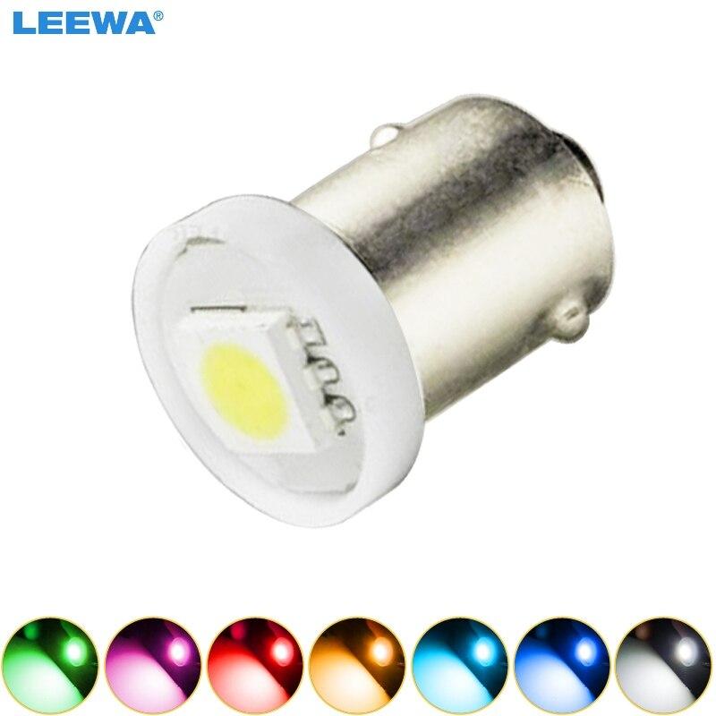 LEEWA 50pcs DC12V Car BA9S T4W 1895 5050 1SMD 1LED Lamp Car LED Light Bulbs Reading Light 7-Color  #CA4808