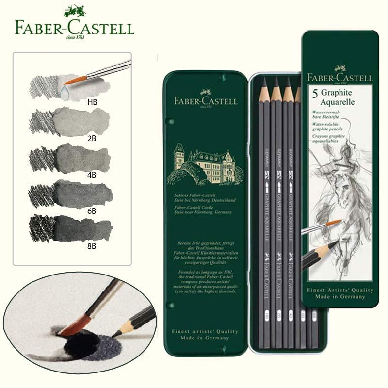 Faber castel solúvel em água lápis grafite aquarelle aquarela lápis lápis esboços desenhos kit de caixa de estanho hb 2b 4b 8b