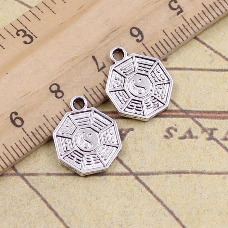 30 pçs encantos oito diagramas yin yang 15x12mm antigo prata cor pingentes fazendo diy artesanal tibetano encontrar jóias
