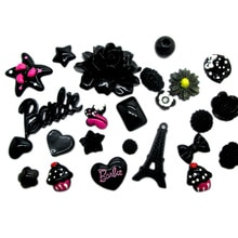 100Pcs Black Series Mixed Decoration Crafts Beads Frame Flatback Cabochon Scrapbook Kawaii DIY Embellishments Accessories