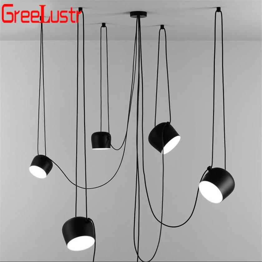 Lustres Vintage, lámpara Colgante de araña LED, lámpara Colgante para comedor, lámpara Colgante E27, lámpara Colgante de suspensión de luminaria negra