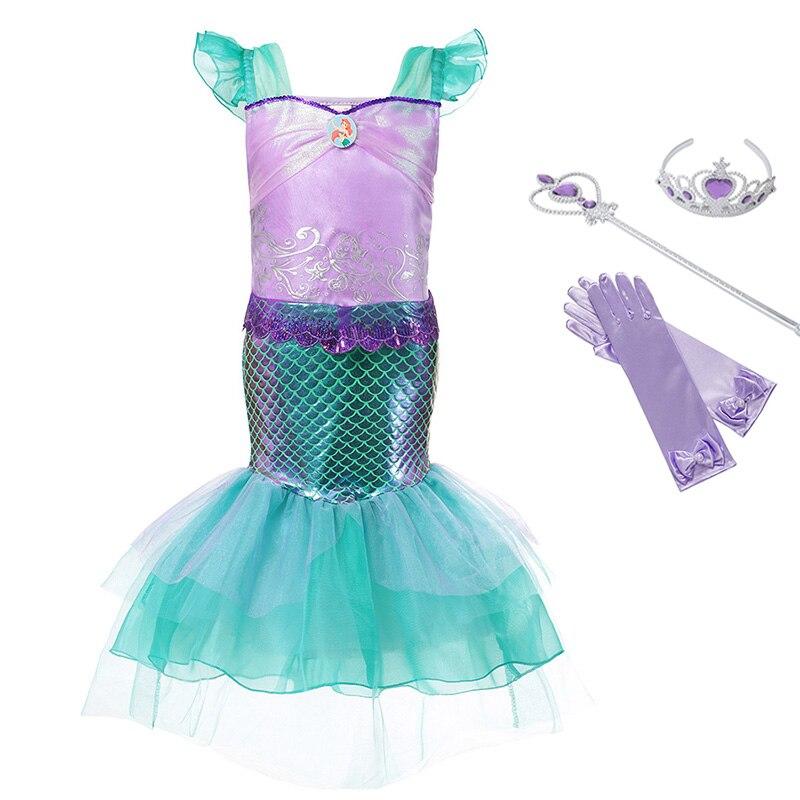 Disfraz de princesa Ariel para niñas, Vestido de manga de pétalo para niños, vestido con estampado para niñas, regalo de cumpleaños y Carnaval de fiesta, vestidos de La Sirenita