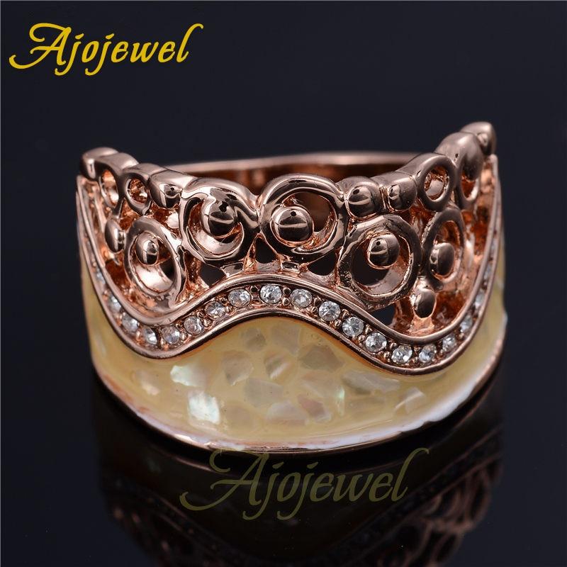 Ajojewel rizo elegante Natural Shell mujeres anillos con CZ única moda mujer joyería Bijoux Mujer