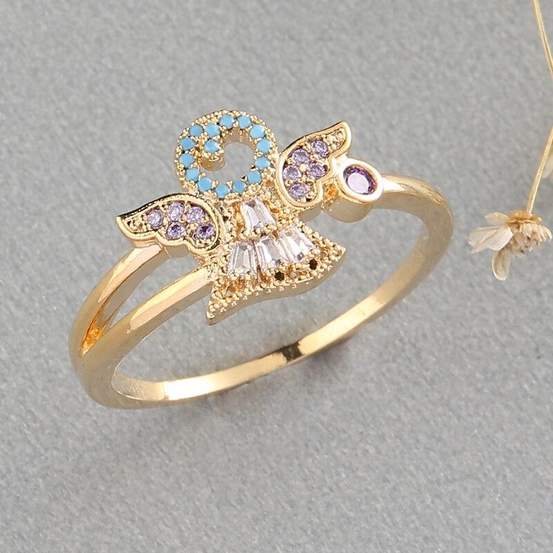 Anillo alas de Ángel elegante coreano Micro Pave Zircon anillos de oro para mujer anillos de cristal de moda joyería regalos femeninos bague femme