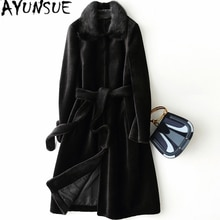 AYUNSUE  Real Fur Coat with Mink Fur Collar Fashion Winter Coat Women Clothes 2019 Korean Thick Warm Long Wool Jacket+belt X-85
