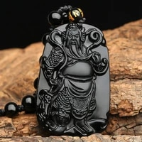 100 natural obsidian hand carved guan gong guan yu lucky amulet pendant necklace