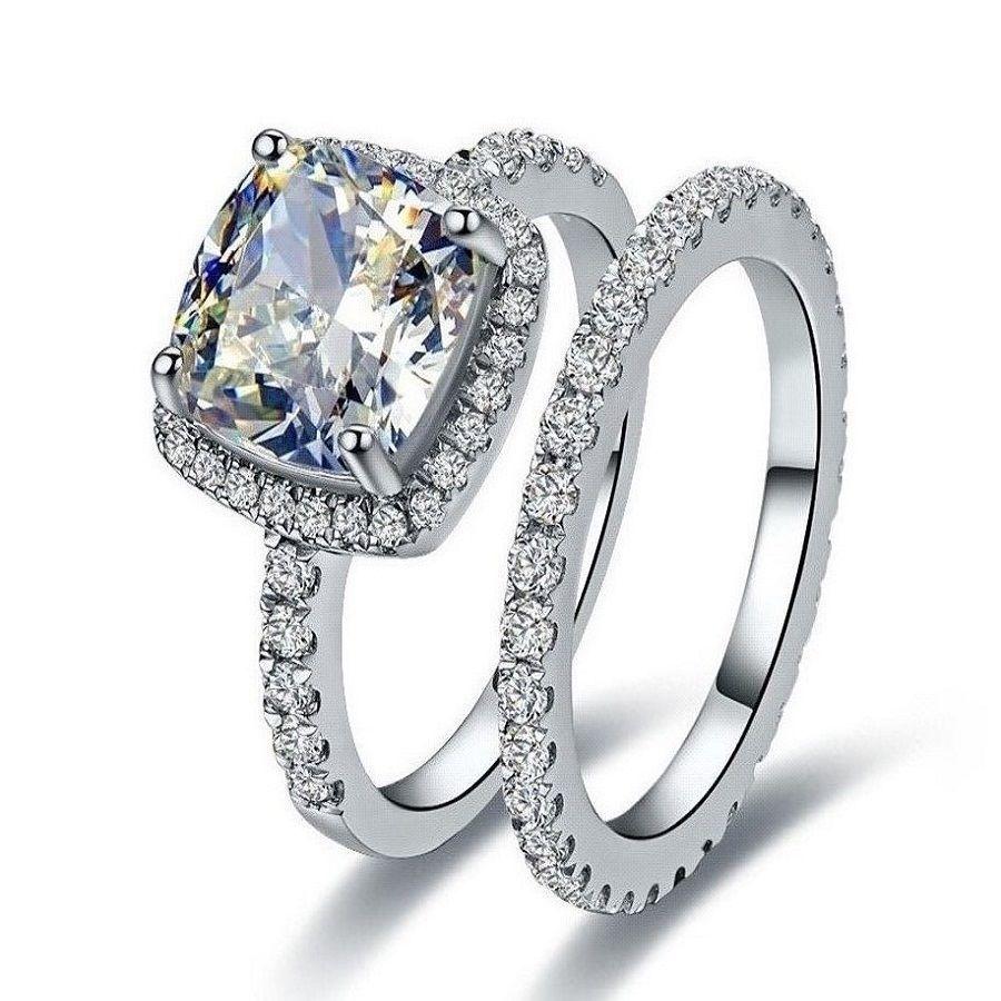 Size5-11 Cushion-cut AAA CZ joyería de lujo 10kt oro blanco relleno Guard piedras simuladas anillo de boda anillo de Mujeres de compromiso set regalo