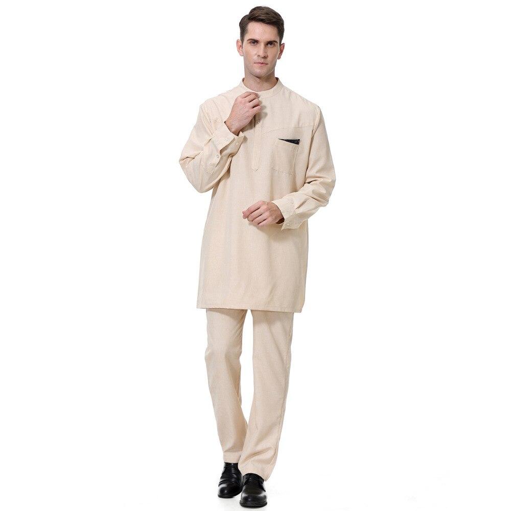2019 New arrive muslim men robe set fashion Islamic abaya clothing with pants suit arabic dubai turkey Jubba thobe male