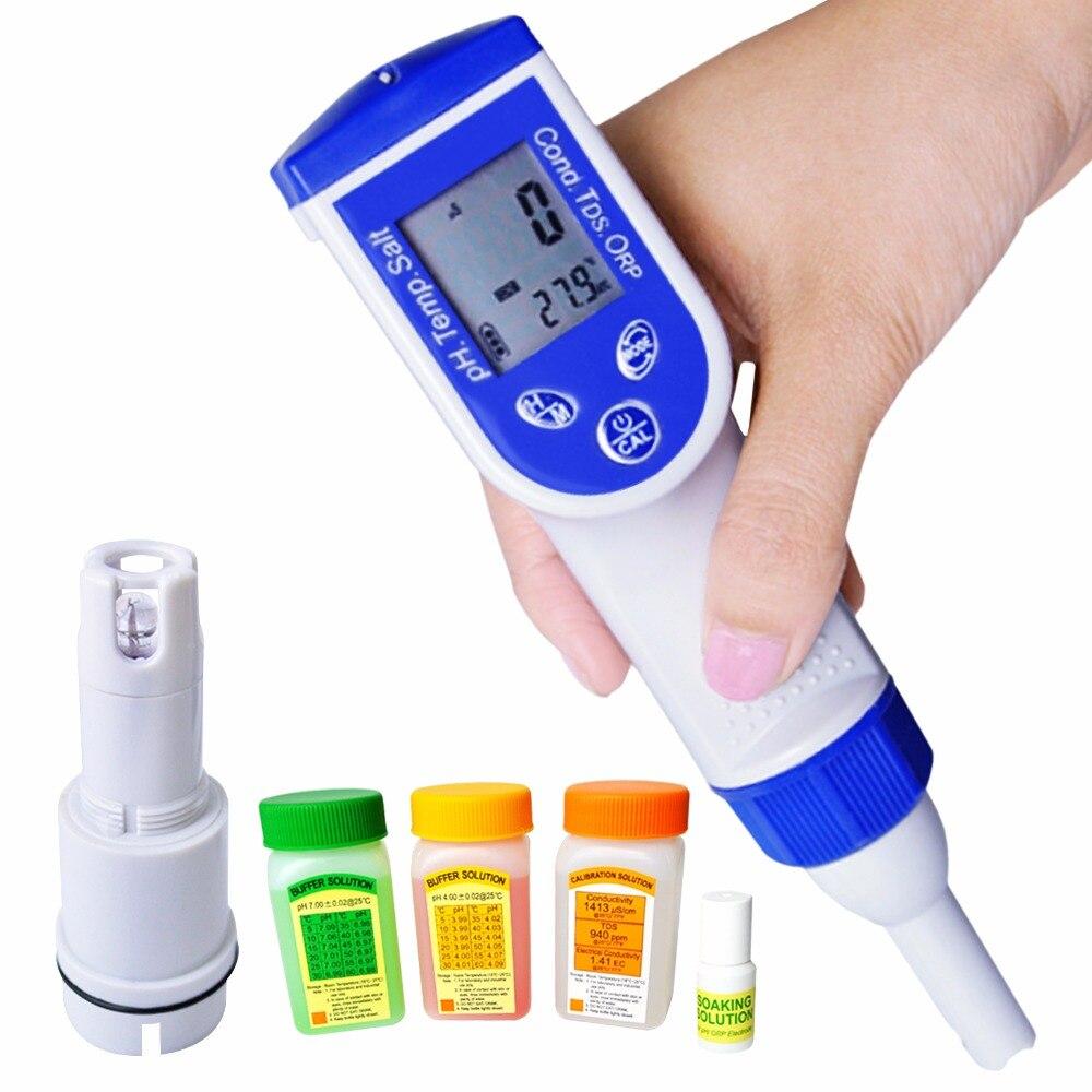 6-em-1 digital caneta tester ph orp ec tds salinidade temperatura medidor de qualidade da água ip57 à prova dwaterproof água