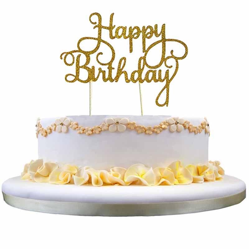Brillo Topper para tarta de feliz cumpleaños para bebé chico chica adulto primero 1st 16th 21st decoración de fiesta de cumpleaños a favor de plata de oro