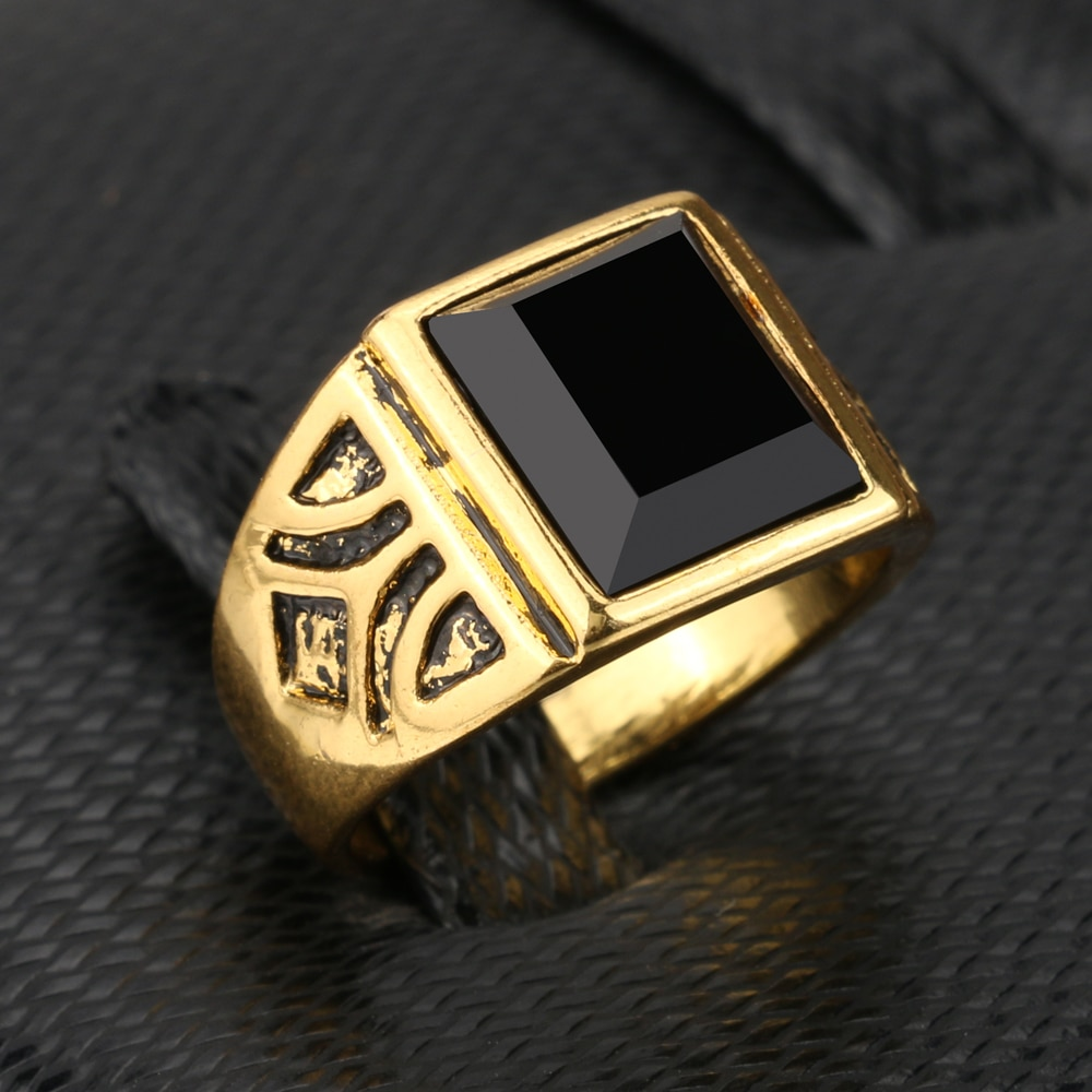 Kinel Fashion Dubai Gold Color Zircon Men Ring Wedding Paty Accessories Punk Black Ring Vintage Jewelry Wholesale 2020 New