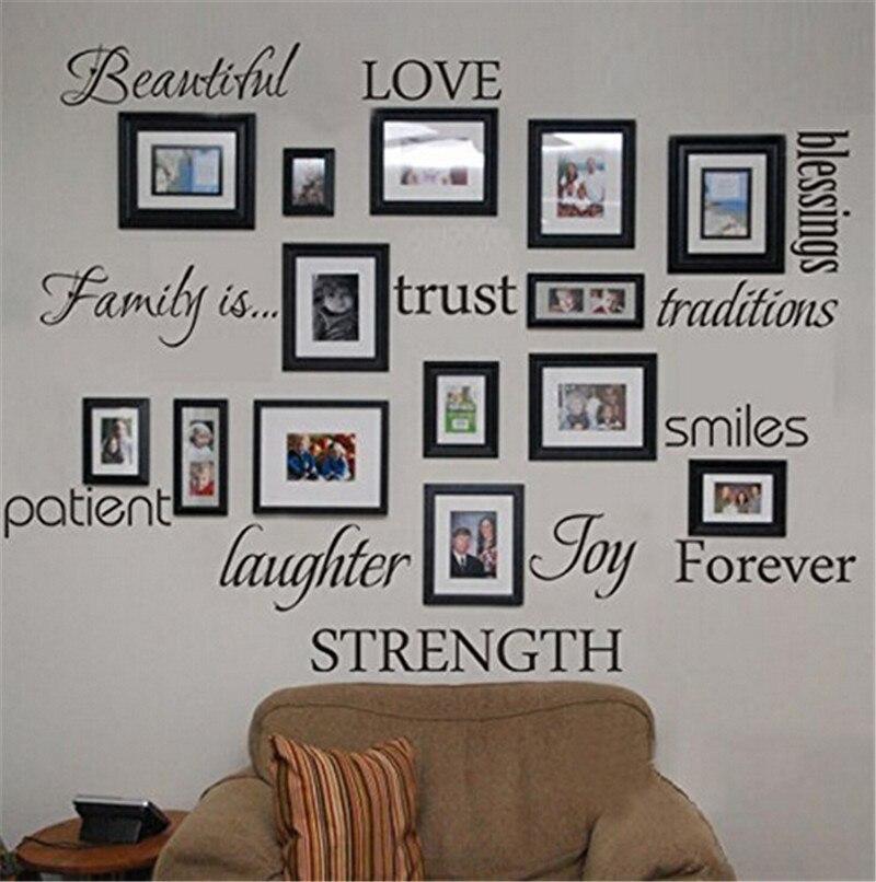 Família bênção amor paciente alegria sorriso citações preto moldura da foto adesivo de parede sala estar quarto decoração casa mural decalque arte