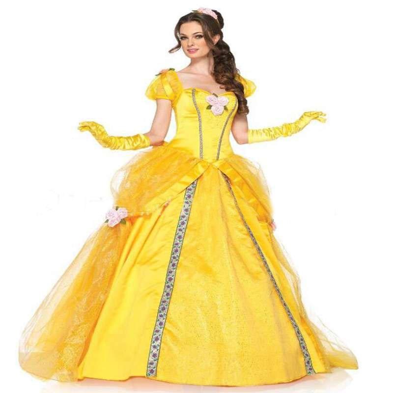Желтое длинное платье с колокольчиком красавицы и чудовища, костюм на Хэллоуин, платье принцессы Белль, маскарадный костюм для взрослых