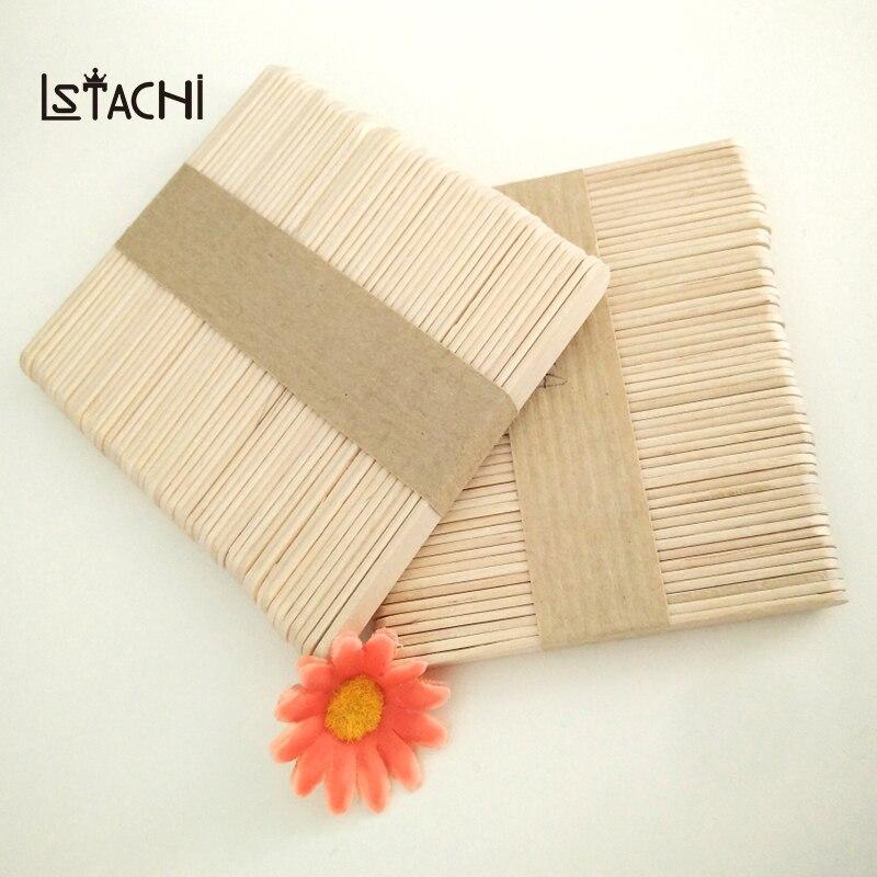 LSTACHi 50 unids/lote palo de paleta de madera palitos de paleta helado, ángulo de longitud del borde 114mm palos de hielo Pop