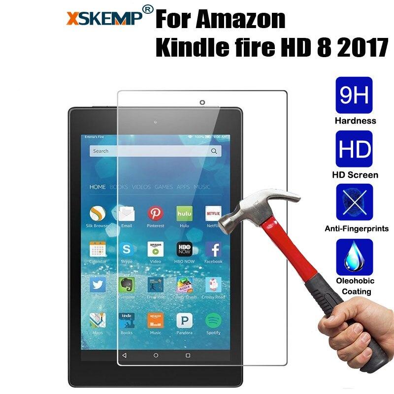 Protector de pantalla de vidrio templado para Amazon Kindle fire HD 8 2017 de acero 8,0 película Tablet PC 9H Real película protectora endurecida LCD