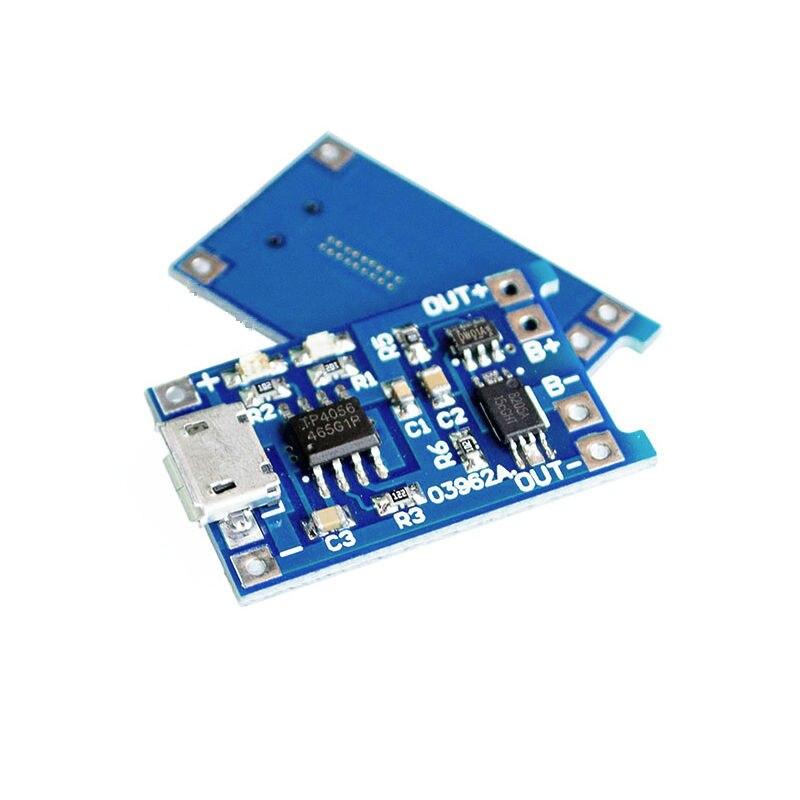 Glyduino 18650 Placa de carga de batería de litio con protección3.6 4,2 3,7 V 1A MÓDULO DE Cargador Micro USB para Arduino DIY inteligente