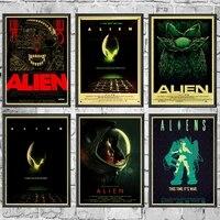 Autocollants muraux de haute qualite imprimes  affiche retro de film dart de maison Alien  pour la decoration de la maison