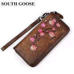 South goose 2019 novo clássico mulheres carteiras de couro genuíno feminino longo embreagem carteiras senhoras saco dinheiro do vintage moedas bolsas