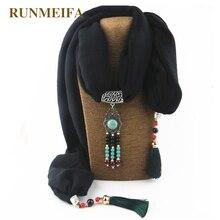 RUNMEIFA   Écharpe Hijab en coton bijoux, en alliage, Sarong, paréo, vente en gros, chine