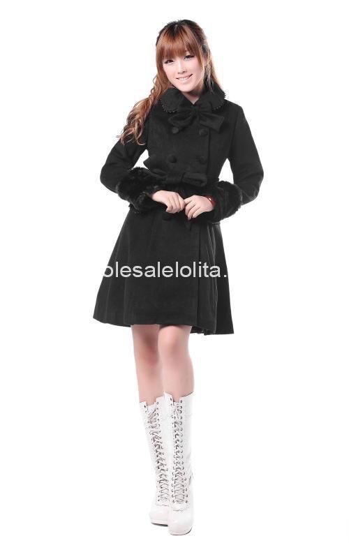 Cheap Cute Black Wool Flannel  Sweet Winter Coat Girls Winter Coats Brand Long Winter Coat