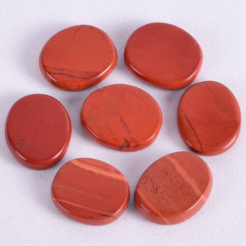 Jaspe rojo, piedra de la palma del Chakra, 30*22*7mm, cristal mineral, cuarzo, pulido, conjunto de rebanadas, piedra caída, Reiki, energía curativa