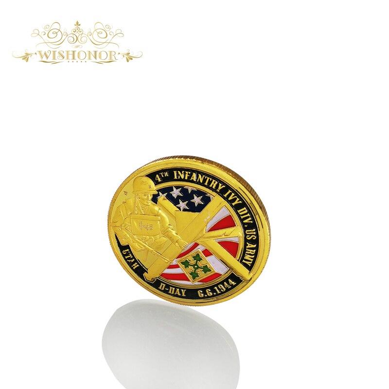 Сувенирные монеты OMAHA BEACH памятные из США с оптовым позолоченным чехлом 40*3 мм