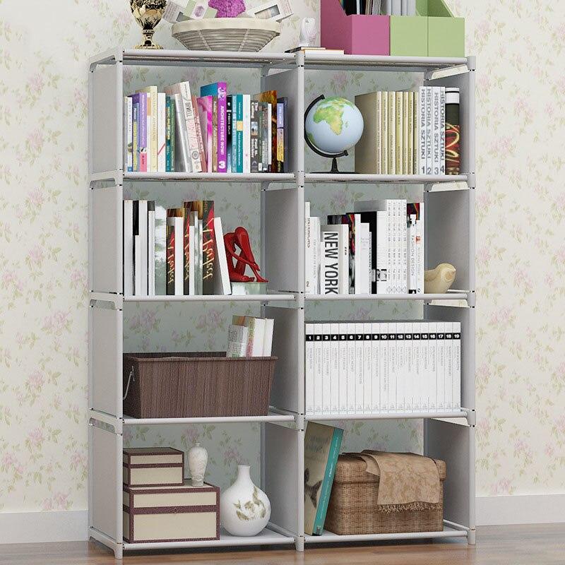 Двухрядная многоцелевая книжная полка студенческий простой книжный шкаф DIY