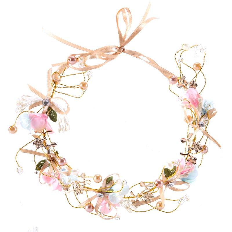 SSYFashion New Wedding Jewelry Handmade Colorful Pearl Rhinestone Inlay Headband for Flower Girl Bride Headwear Hair Accessories