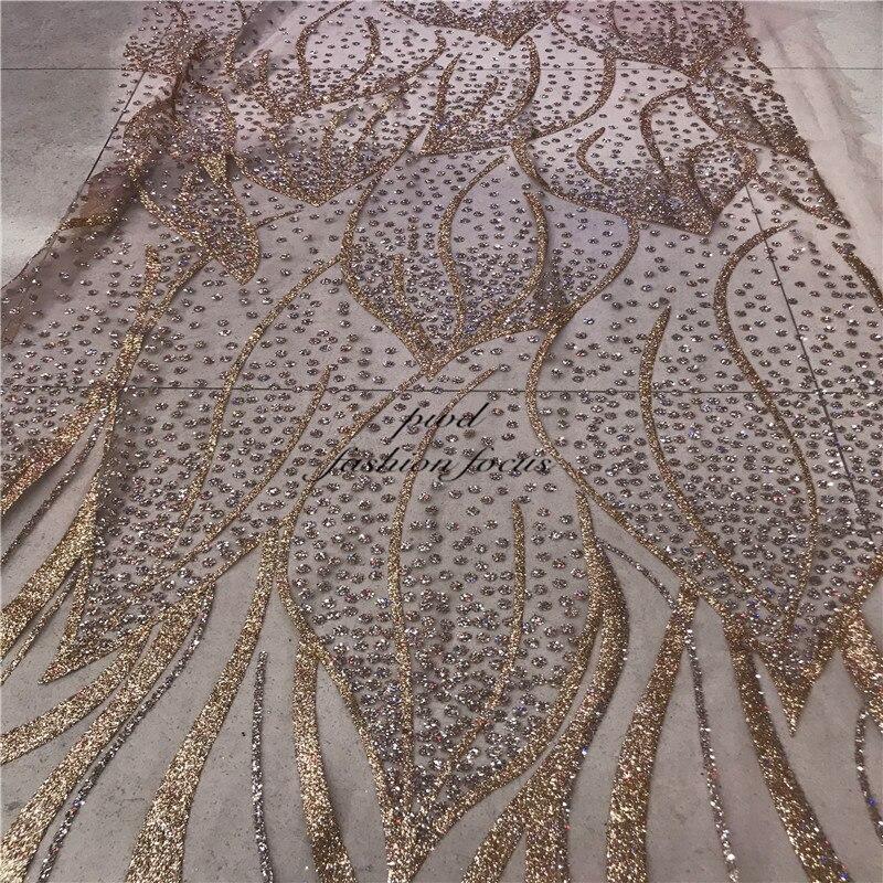 Encaje rosa dorado brillante con tul de cristal, encajes de malla, tela de encaje rojo 2018 para novia alta costura