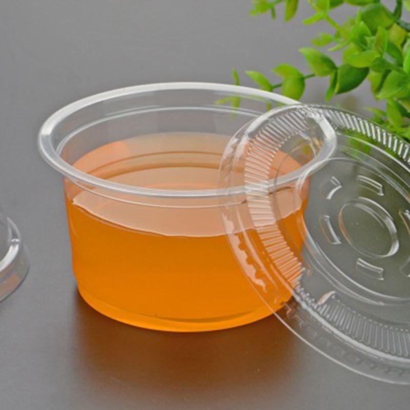 10 Pcs Einweg Tassen Von 250 ml Sauce Topf Container Jello Erschossen Tasse Schleim Lagerung Mit Deckel Für Ketchup