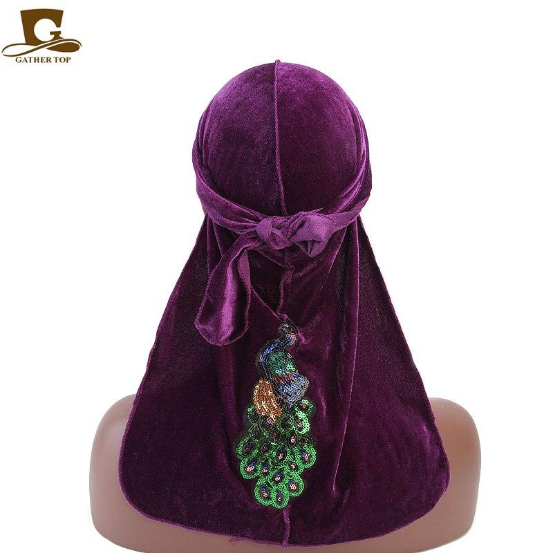 Unisex Men Women sequined peacock pattern velvet Breathable Bandana Hat Durag do doo du rag long tail headwrap chemo cap