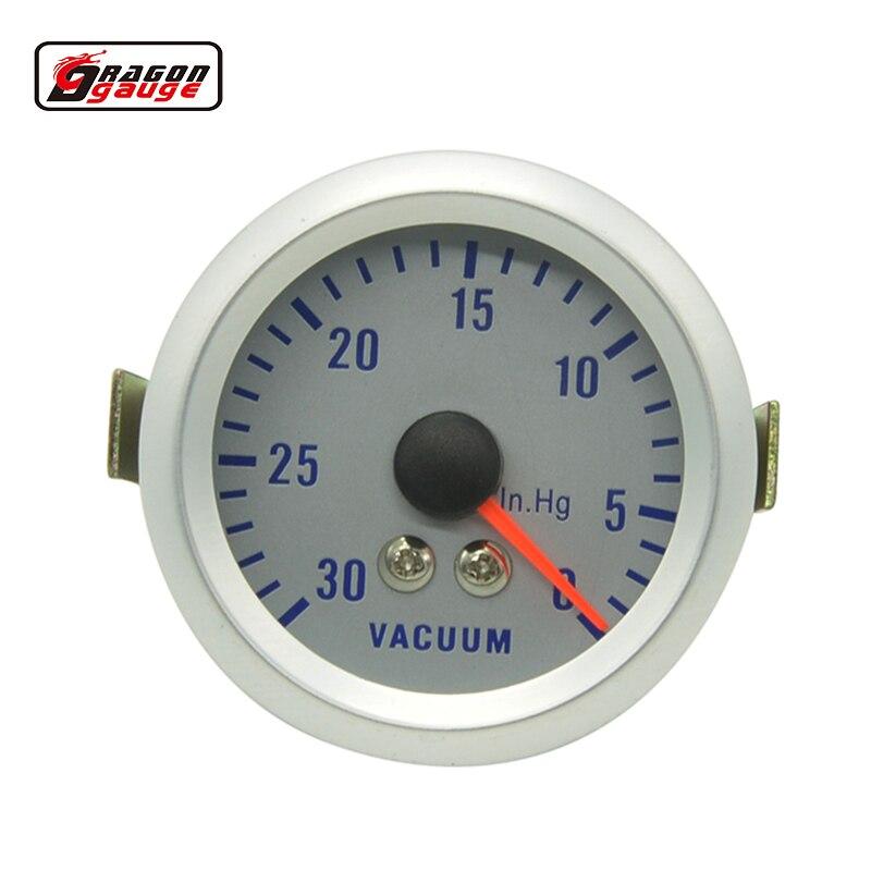 Medidor de impulso 0-30 inhg do impulso do calibre 0 do impulso do turbo do impulso do ponteiro do fantasma do escudo branco 52mm