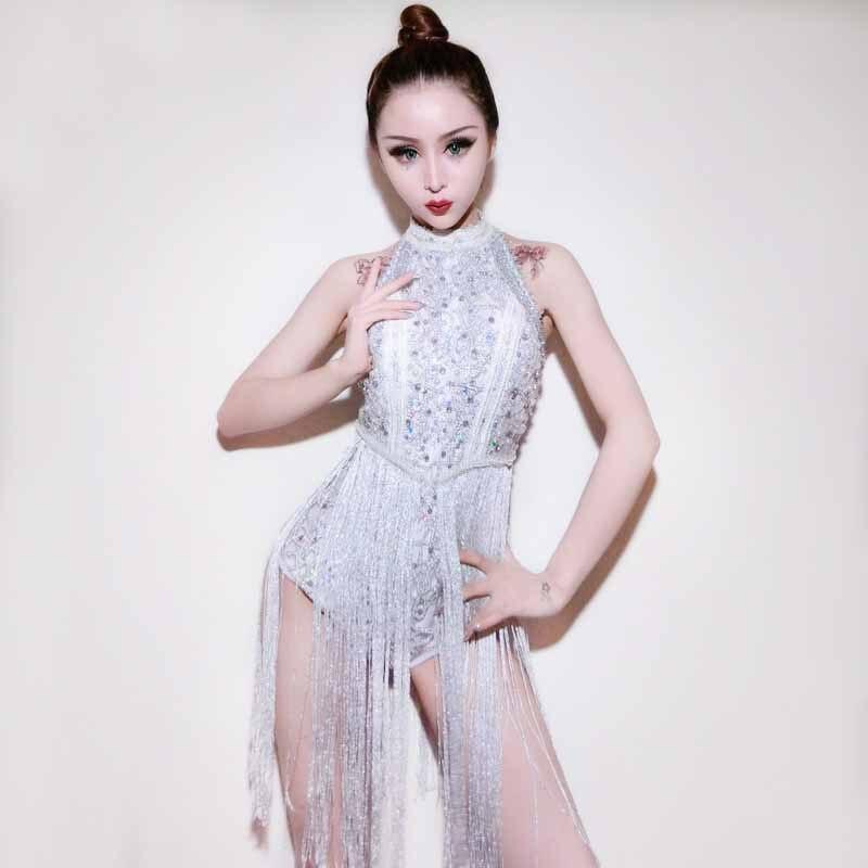 Сексуальное боди со стразами и серебряными кисточками для женщин, наряд для джазовой танцевальной вечеринки, DJ DS, для ночного клуба, Beyonce, сценические костюмы для певцов