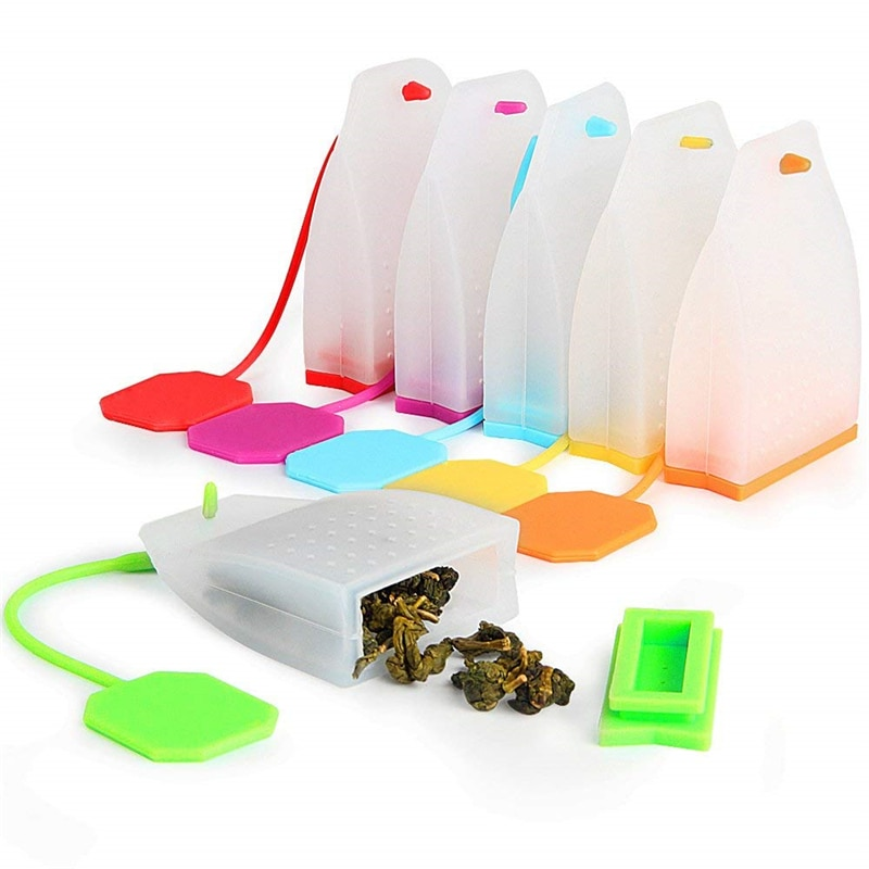 Paquete de 6 bolsas de silicona para infusión de té, bolsas de té FineGood reutilizables de hoja suelta, filtro colador para utensilios para bebedero de té de Color aleatorio