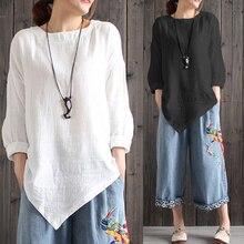 Celmia femmes Vintage coton linge Blouses 2019 automne manches longues grande taille chemises asymétriques hauts décontracté lâche Camisa Feminina