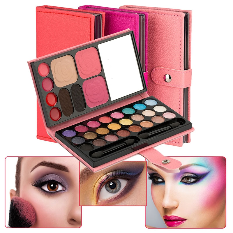 Paleta de sombra de ojos 33 colores rubor de larga duración ceja de lápiz labial en polvo portátil para mujeres FM88