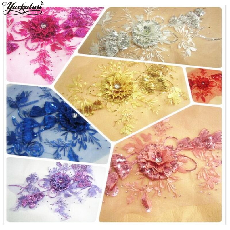 YACKALASI 3D flor apliques diamante cristal plata oro bordado apliques costura adornos 42 cm * 28 cm