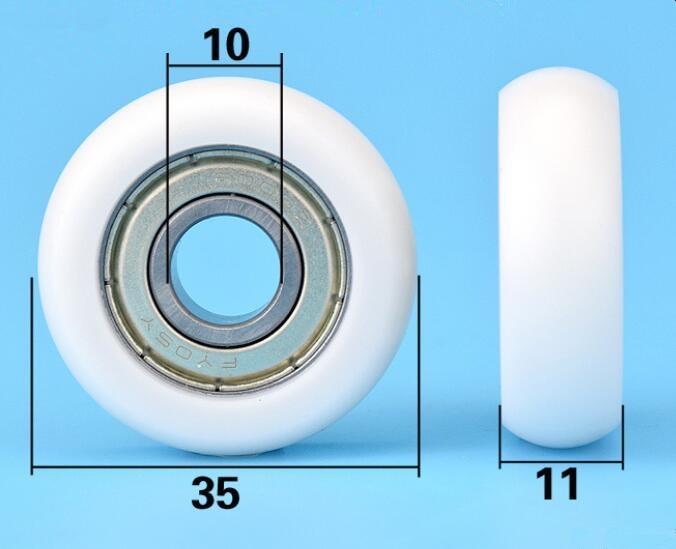 DuoWeiSi 10*35*11mm 6000ZZ lager pulley kunststoff beschichtet roller rolling maschinen teile rad lager 79 kg innen 10mm