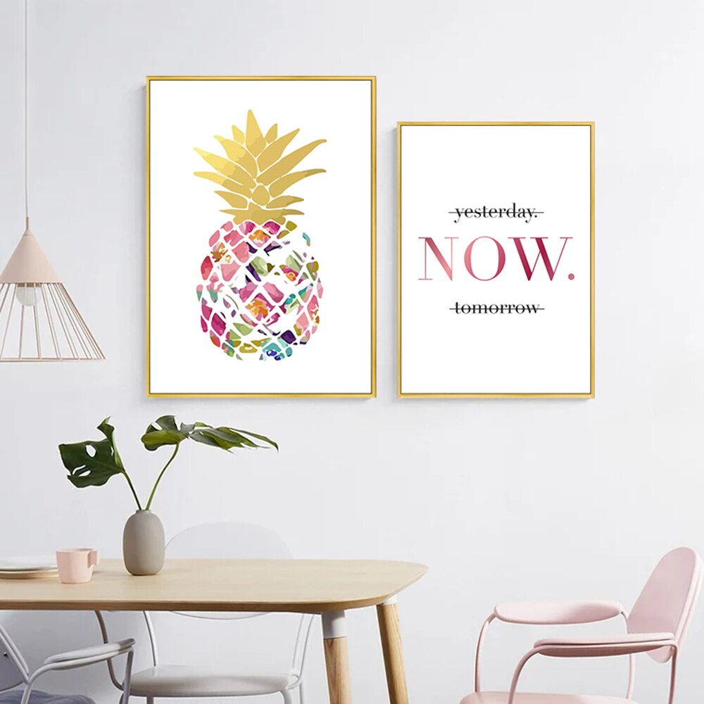 Lienzo de piña de oro amarillo moderno, cuadros artísticos de pared, carteles nórdicos, cuadros para decoración de oficina, sala de estar, hogar