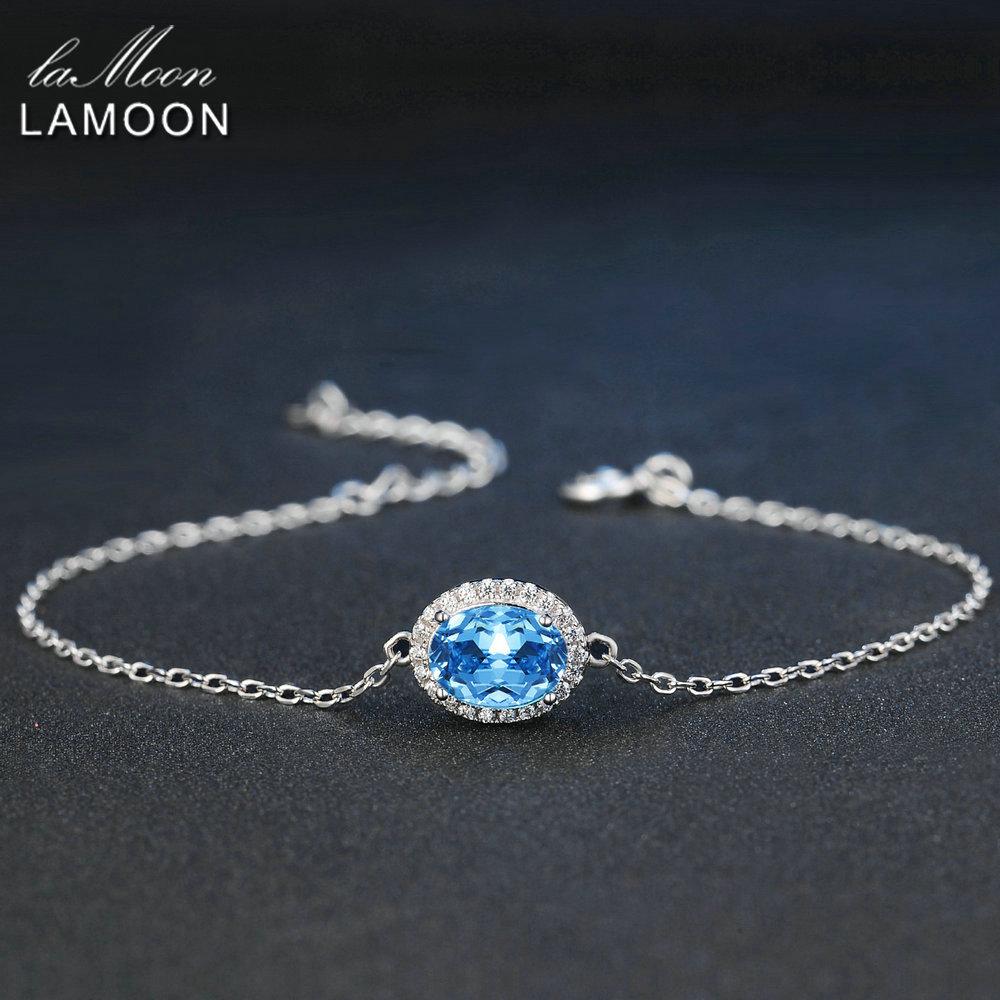 Ламоон классический 6х8 мм 100% натуральный овальный синий топаз 925 стерлингового серебра, браслет с подвеской S925 LMHI019