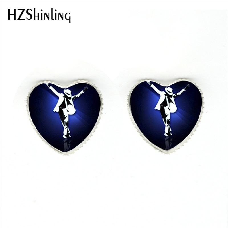 HER-0023 New Michael Jackson Heart Earrings Classic Michael Jackson Stud Earrings Handmade Glass Dome Jewelry