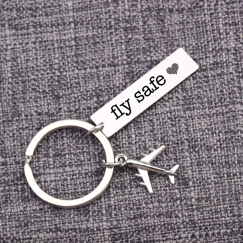 Creativo Fly Safe con llavero de corazón aviación viajes piloto llavero avión aéreo regalo para el personal de vuelo aerolínea trabajador