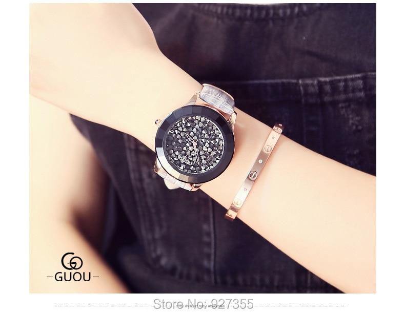 New Fashion Big Dial Women Watches Luxury Lady Gift Rhinestone Watch Gray Genuine Leather Wristwatches Waterproof Clocks enlarge