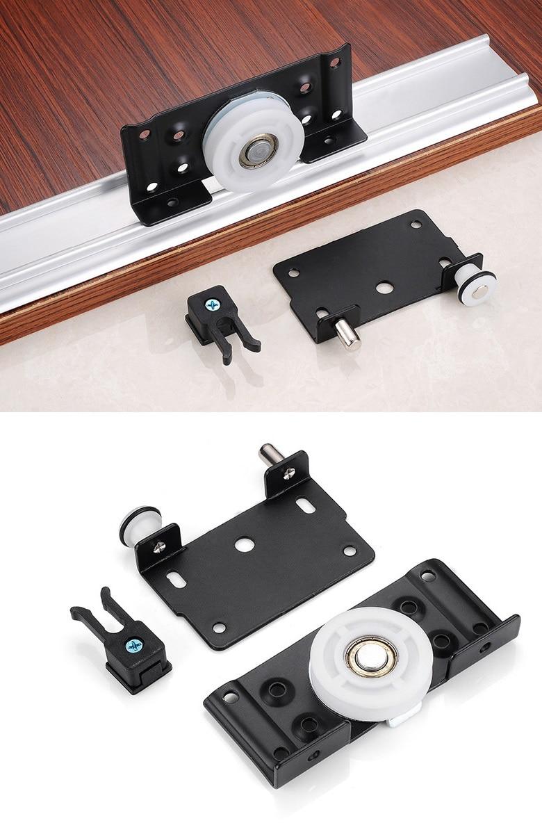 2 مجموعات/وحدة Premintehdw الأسود خزانة خزانة انزلاق الباب التجهيزات الأسطوانة بكرة عجلات