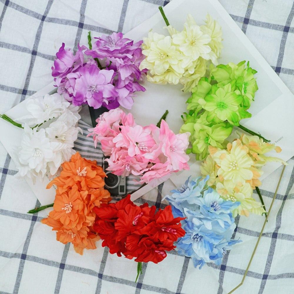 6 шт. маленькие шелковые бабочки Орхидея, искусственные цветы для украшения дома, аксессуары для скрапбукинга на Новый год и Рождество diy gerlyanda