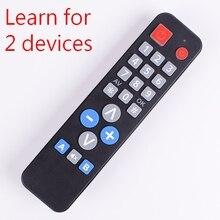 2 cihazlar evrensel uzaktan kumanda öğrenme fonksiyonu ile, kopya IR kodu TV VCR için STB DVD DVB, TV kutusu, kolay yaşlı insanlar için.