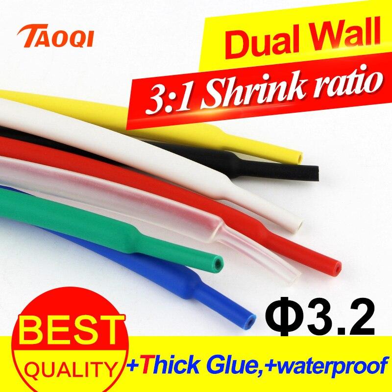 1 metro/lote tubo do psiquiatra do calor 3.2mm adesivo alinhado 31 relação dupla tubulação de parede com cola à prova dwaterproof água envoltório fio cabo kit