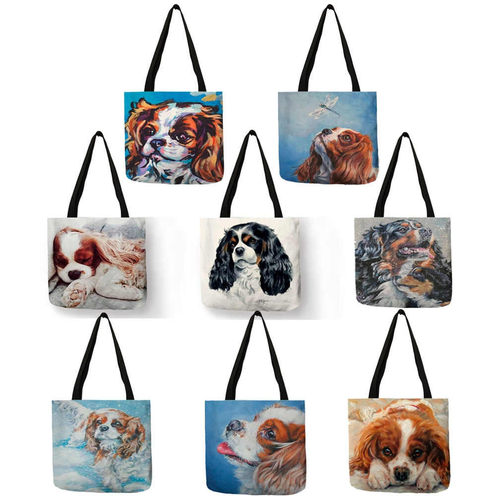 Kawaii Puppies Charles Spaniel perro pintura al óleo estampado Mujer bolso Casual bolsos de hombro para el trabajo escolar reutilizable Shopping Tote