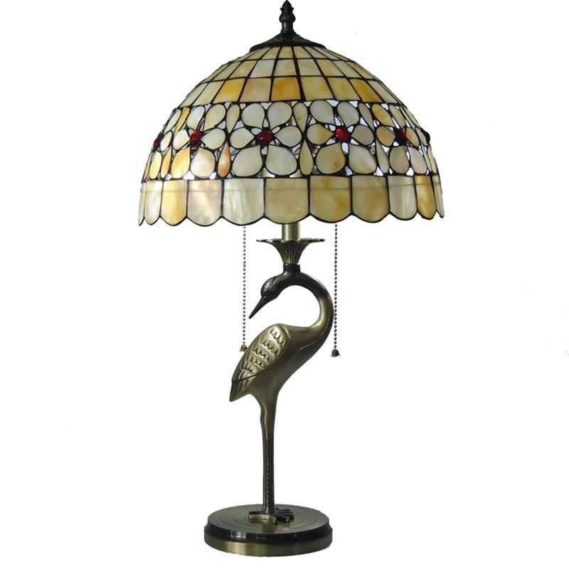 Lámpara de mesa de estilo Tiffany E26/E27, lámpara de escritorio de cobre antiguo europeo para sala de estudio, iluminación de cabecera TL157