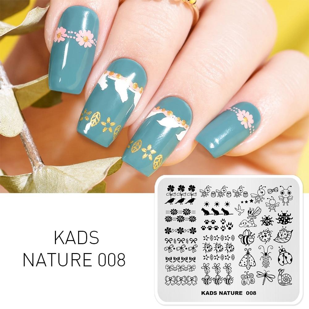 KADS Natuur 008 Nail Stempelen Platen Natuur Ontwerp Bee Slak Kat Strik Nail Art Stamp Template Image Plate DIY Manicure tool